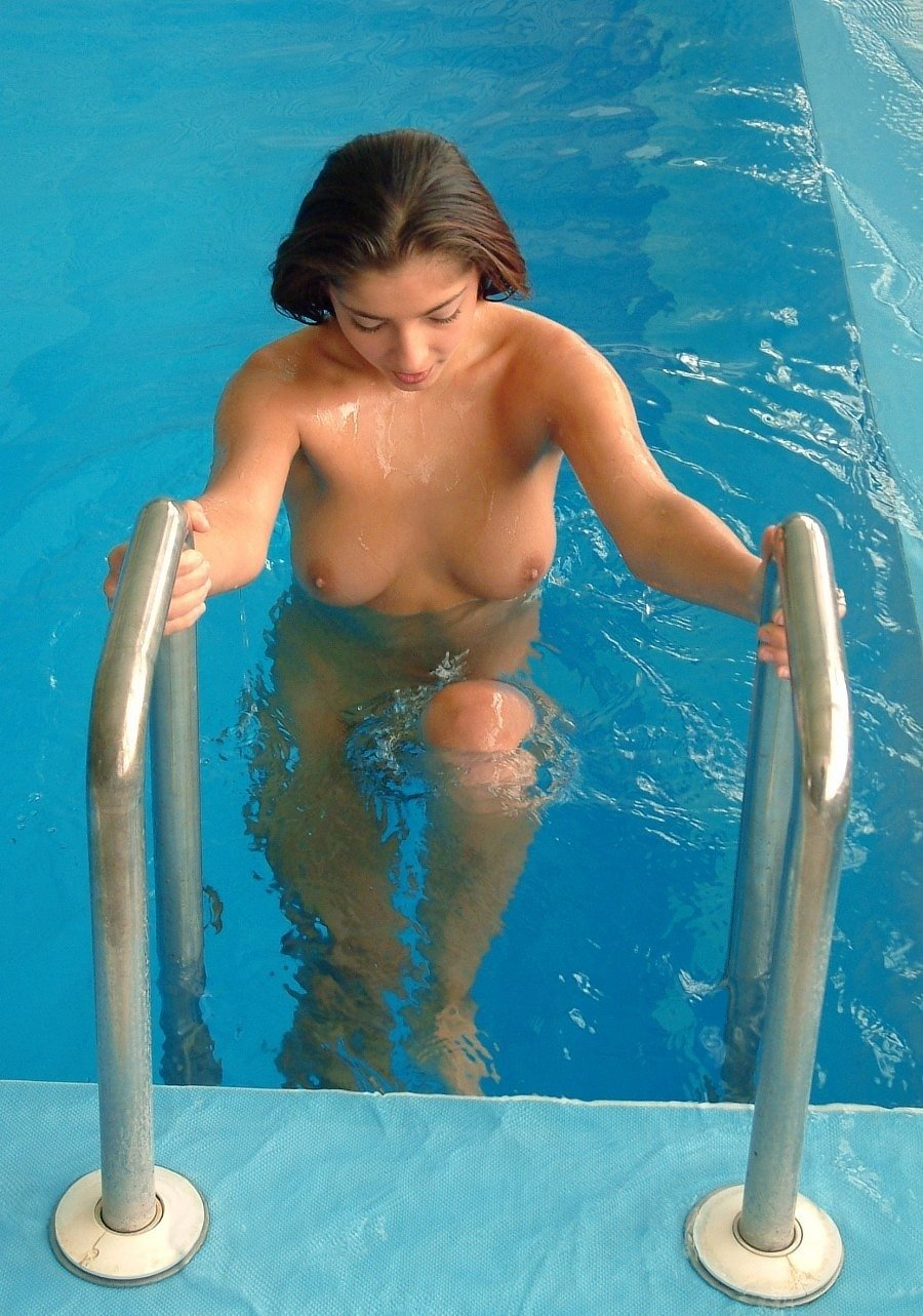 Hot nude girls swimming pool