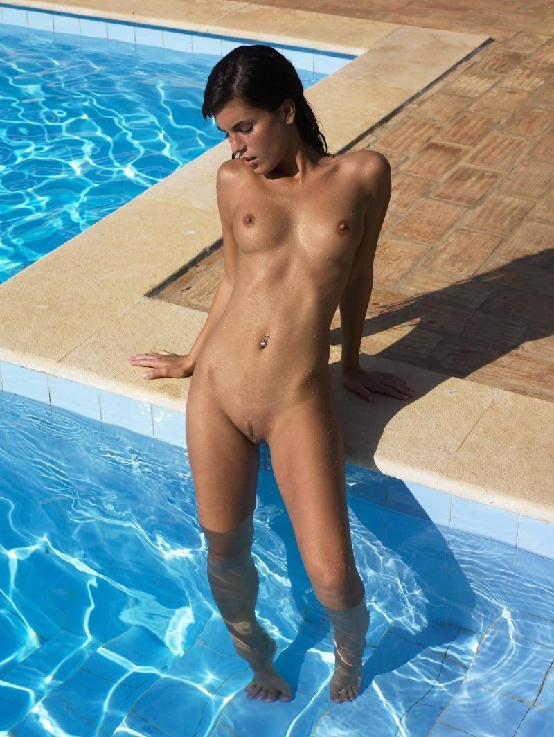 Nude girl in chocolate pool
